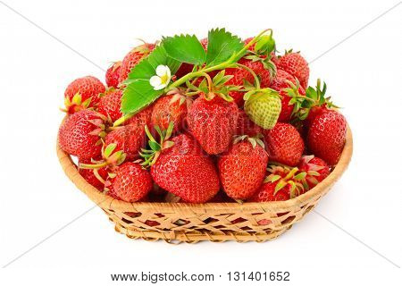 Ripe strawberries with flower in basket isolated on white background
