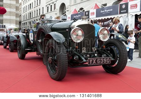 BRESCIA, ITALY - MAY 18: BENTLEY 4.5 1928 built on Mille Miglia,the famous race for retro cars, May 18,2016 in Brescia,Italy