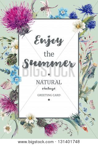 Vintage Natural Herbal Vertical Frame with Blooming Meadow Flowers-Thistles, Dandelions, Meadow Herbs, Chamomile and Dragonfly. Botanical Floral Vector Vintage Isolated Illustration on Mint