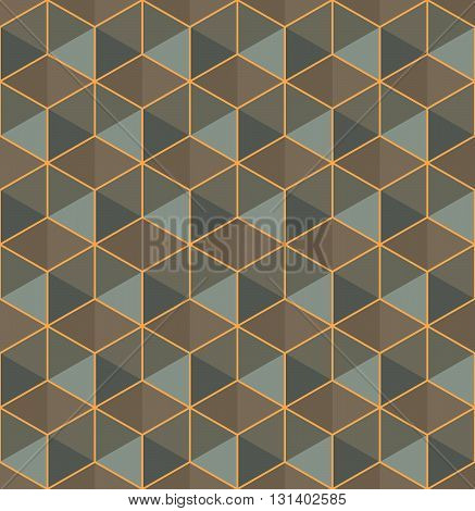 Modern stylish colorful geometric texture with structure of repeating hexagons - vector seamless pattern