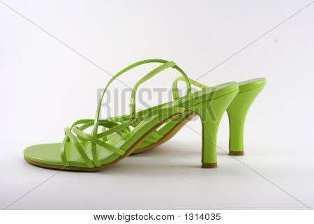 photo of women green shoes isolated on white poster