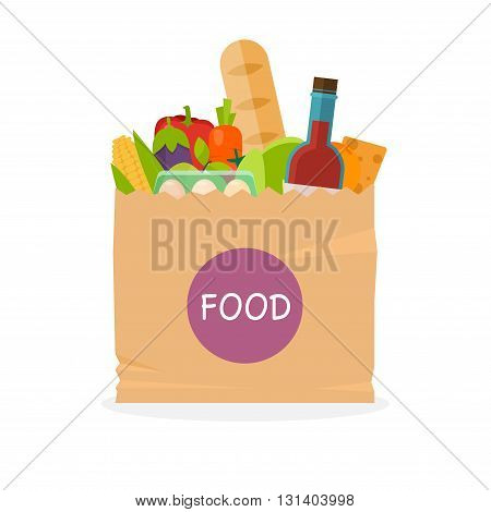 Paper Bag With Foods. Healthy Organic Fresh And Natural Food. Grocery Delivery Concept. Flat Vector