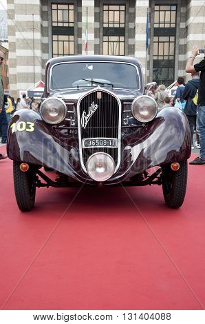 BRESCIA, ITALY - MAY 18: FIAT 508 CS MM BERLINETTA 1935 built on Mille Miglia,the famous race for retro cars, May 18,2016 in Brescia,Italy