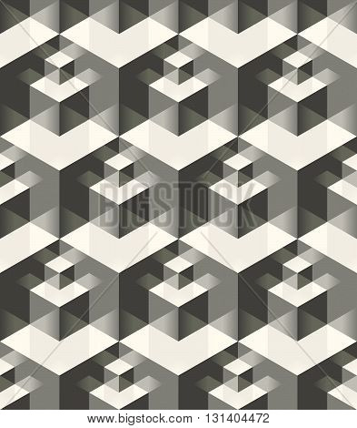 Vector seamless pattern. Modern stylish geometric texture with volume effect - array of cubes of different sizes with mirrored faces