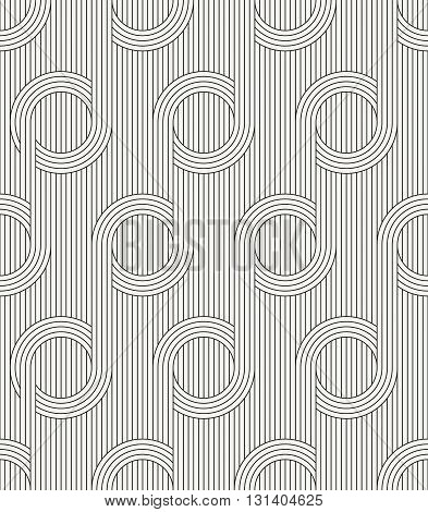 Vector seamless pattern. Modern stylish outlined fabric texture with structure of repeating vertical lines and circles.