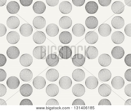 Modern stylish outlined decorative geometric texture with structure of repeating spheres - vector seamless pattern