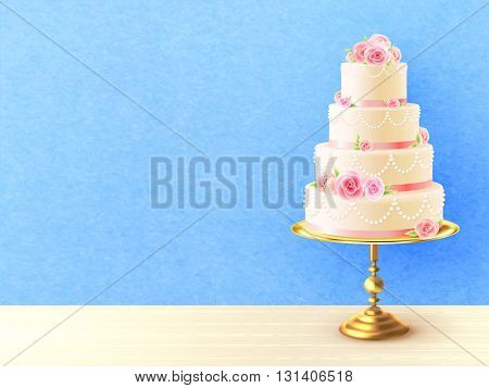 Wedding cake with cream roses on top and between tiers against blue background realistic image vector illustration