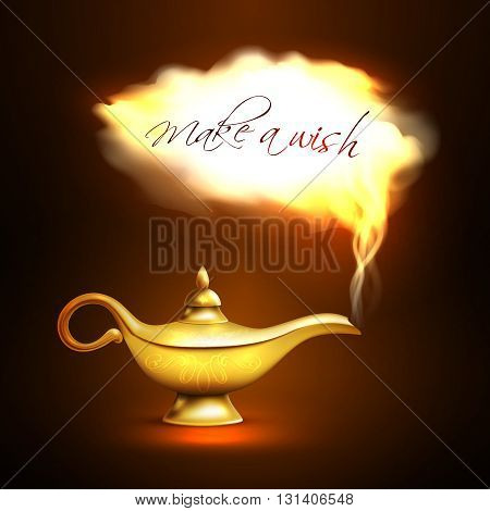 Realistic aladdin lamp with cloud look like departing from lamp genie and title make a wish vector illustration