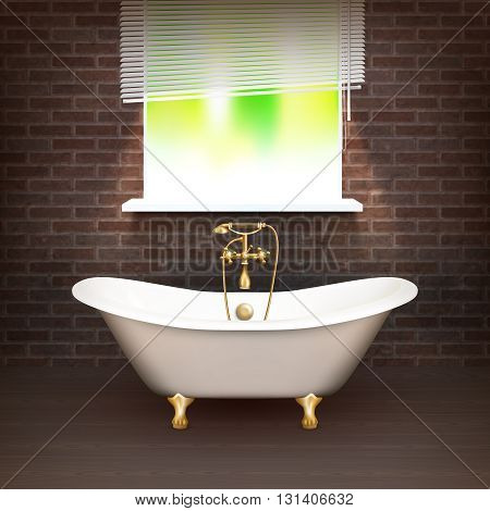 Realistic Bathroom Poster with vintage bathtub on wooden floor and a brick wall across from the window vector illustration poster