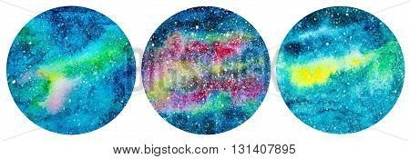 set of round shaped hand painted texture background with galaxy and stars