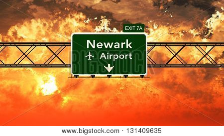 Passing Under Newark Usa Airport Highway Sign In A Beautiful Cloudy Sunset