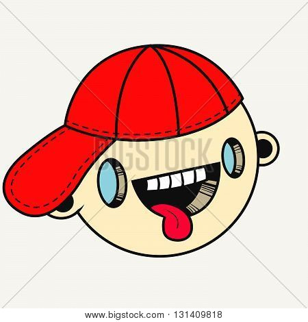 Vector illustration. Hand drawn smiling face of a funny looking boy with his tongue out in a red cap. Modern icon in the style of old cartoons.