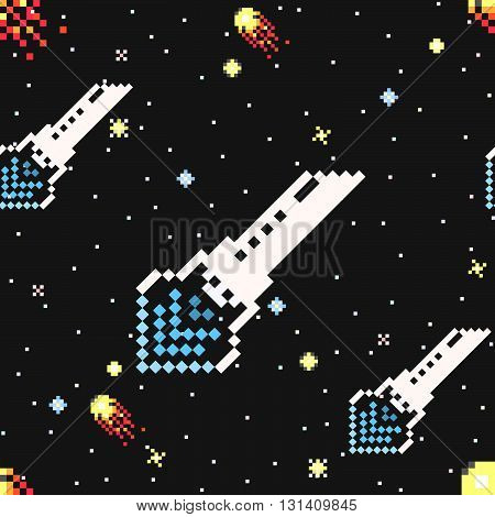 Hand drawn space ships and asteroids seamless pattern. Modern stylish exploration of deep space decorative ornament. Repeating background for textile. Vector illustration in pixel art style.