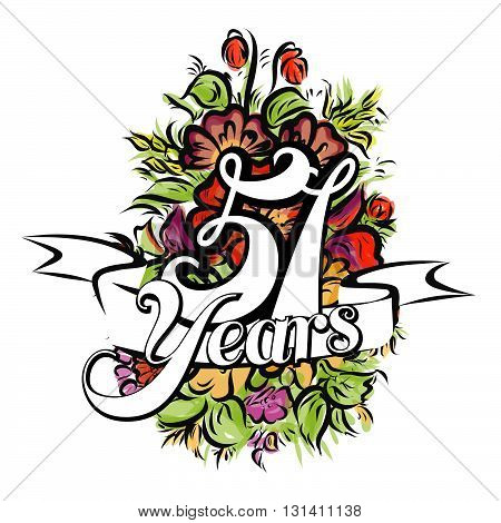 51 Years Greeting Card Design