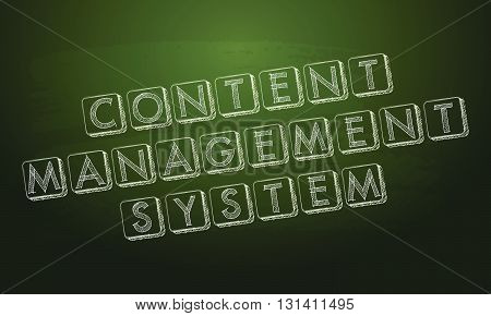 content management system - white chalk text over green blackboard, CMS internet concept words, vector