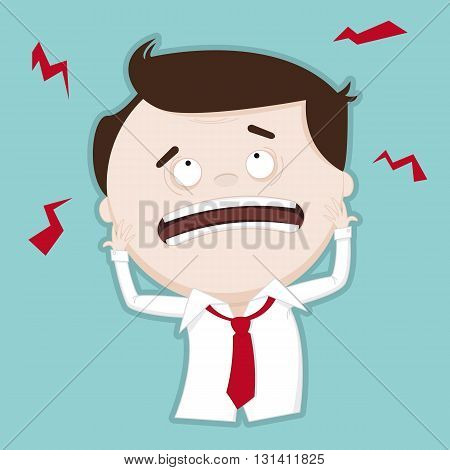 Puzzled / confused businessman - funny illustration