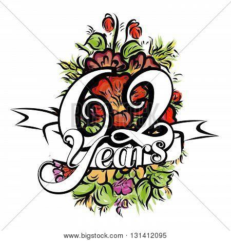 62 Years Greeting Card Design