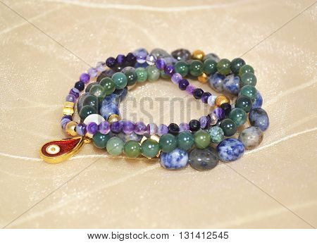 gemstone bracelets - amethyst lapis lazuli and agate semi precious stones jewelry poster