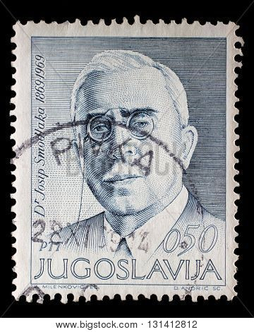 ZAGREB, CROATIA - JUNE 14: a stamp printed in Yugoslavia shows The 100th Anniversary of the Birth of Josip Smodlaka(1869-1956), Croatian politician, circa 1969, on June 14, 2014, Zagreb, Croatia