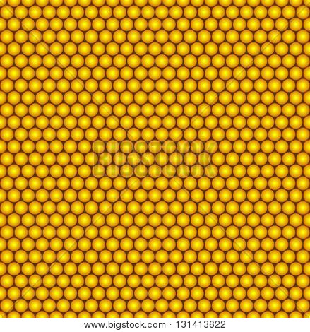 Abstract vector seamless pattern with structure of repeating yellow circles with volume effect. Repeating modern stylish geometric background. Honeycomb or round vitamin pills with pearl color.