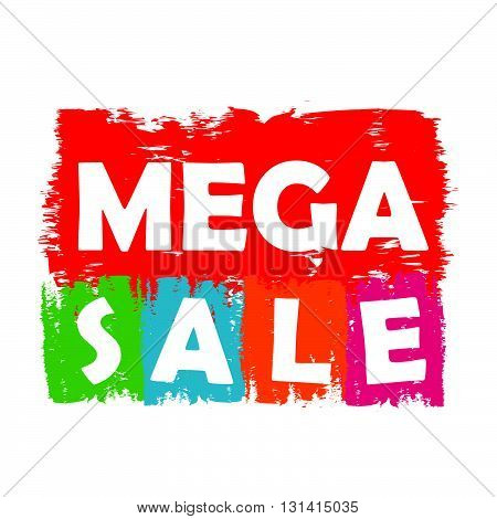 mega sale drawn label - text in red, green, blue, orange and purple banner, business shopping concept, vector