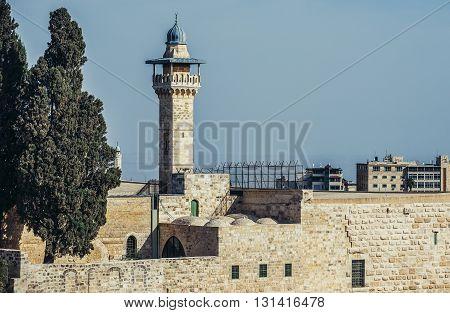 view on Al-Aqsa Mosque in Jerusalem Israel