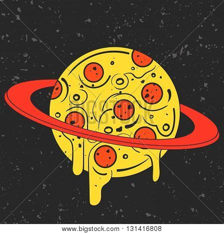 Hand drawn funny illustration of pizza-looking planet in space. Modern fast food stylish logotype or eating icon. Isolated vector illustration perfect for print posters t-shirts and textile.