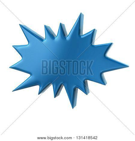 3d illustration of blue bursting star isolated on white background
