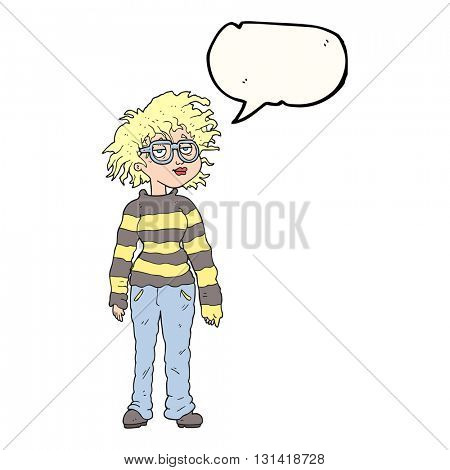 freehand drawn speech bubble cartoon geeky girl