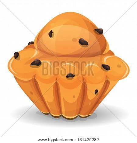 Illustration of an appetizing french brioche with chocolate nuggets for breakfast
