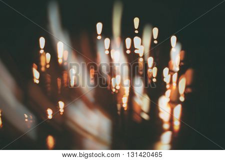 Attention abstract blur background (exclamation mark) over darkness