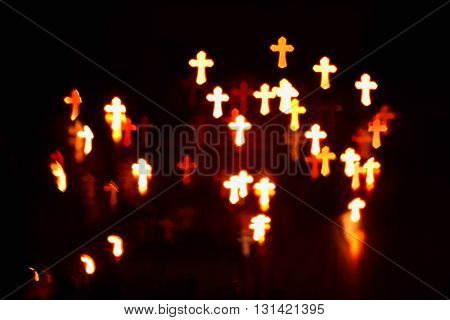 faith Christianity crosses abstract blur background over black