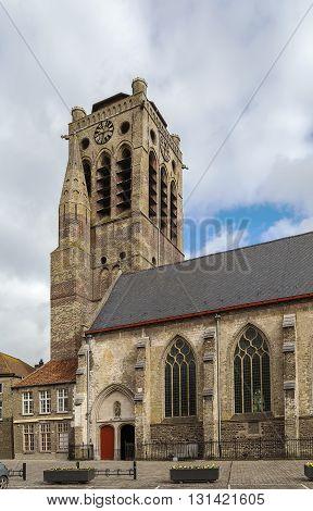 View of church of Saint Nicolas in Veurne city center Belgium