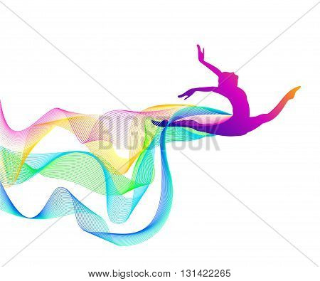 girl gymnast with a loop of multi-colored lines