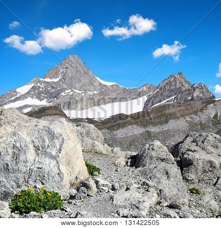 Views of the mountain Zinalrothorn in Pennine Alps, Switzerland