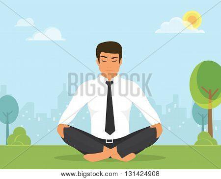 Flat illustration of calm man is doing yoga and meditation in the lotus position in the park on the green field. He is relaxing and meditating alone with nature