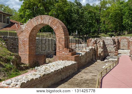 Ancient entrance of the Thermal Baths of Diocletianopolis, town of Hisarya, Plovdiv Region, Bulgaria