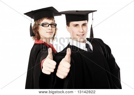 Portrait of young men in an academic gown. Educational theme. poster
