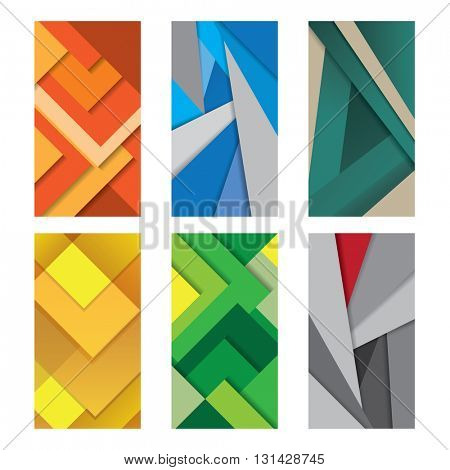 Six Background Unusual modern material design Vector Illustration.