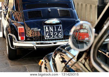 Camogli Liguria Italy - September 20 2015: Festival Fiat 500 Rally organizers the Fiat 500 Club Genova Levante Italy.