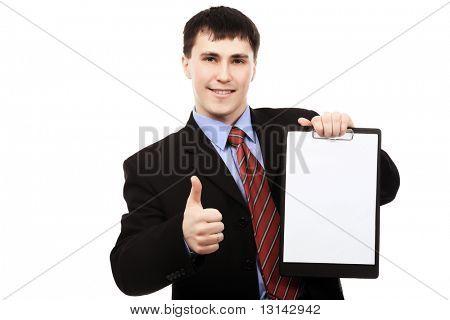 Business theme: handsome businessman on a presentation.