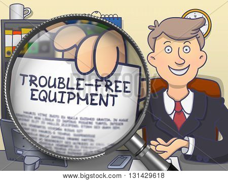 Trouble-Free Equipment through Magnifier . Business Man Holding Paper with Offer. Multicolor Modern Line Illustration in Doodle Style.