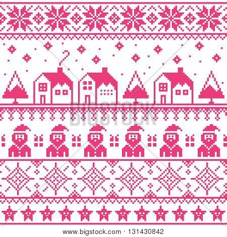 Christmas jumper or sweater pink seamless pattern with Santa and houses