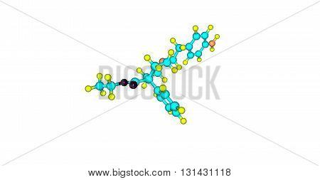 Anileridine is a synthetic analgesic drug and is a member of the piperidine class of analgesic agents. 3d illustration