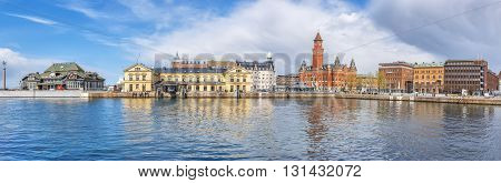 HELSINGBORG SWEDEN - APRIL 25: A panoramic image of the port in Helsingborg. A city in south western Sweden. April 25 2016 Helsingborg Sweden.