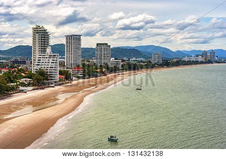 A cityscape view of Hua Hin and it's beach in Thailand