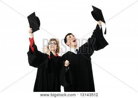 Portrait of young people in an academic gown. Educational theme.