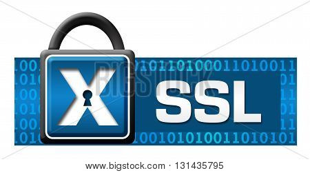 SSL secured concept image text written over blue binary background with lock symbol.