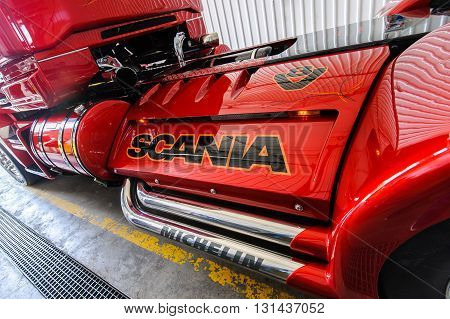 KIEV,UKRAINE - May,21: Exhaust pipes and part of truck frame customized truck Scania R999 from Svempas Customs during celebration of 125 anniversary of Scania company in Kiev,Ukraine May 21,2016.