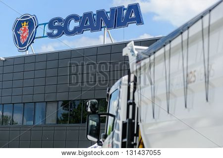 KIEV,UKRAINE - May,21:  Sign and logo Scania company on office building during celebration of 125 anniversary of Scania company in Kiev,Ukraine May 21,2016.